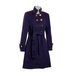 ELIE TARAHI prune Long 100% Wool Coat